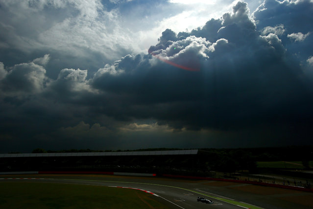 Nico Rosberg of Germany and Mercedes GP drives during day one of testing at Silverstone Circuit in Northampton, England, on Jule 8, 2014. (Photo by Dan Istitene/Getty Images)