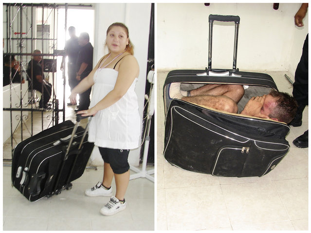 In a combination of handout photographs, Maria del Mar Arjona Rivero (L), 19, is seen holding the suitcase in which she tried to smuggle her partner Juan Ramirez Tijerina out of the prison where he was serving a sentence for unspecified federal crimes, and Ramirez Tijerina (R) is seen inside the suitcase after being discovered by prison guards in Chetumal July 2, 2011. (Photo by Reuters/Government of Quintana Roo-Secretary of State for Public Security)