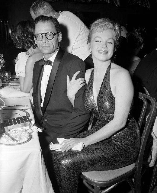 Actress Marilyn Monroe and playwright Arthur Miller attending the April in Paris ball, at the Waldorf-Astoria, which benefits the French Hospital and several philanthropic French-American organizations in New York City on April 11, 1957. (Photo by Bettmann/Getty Images)