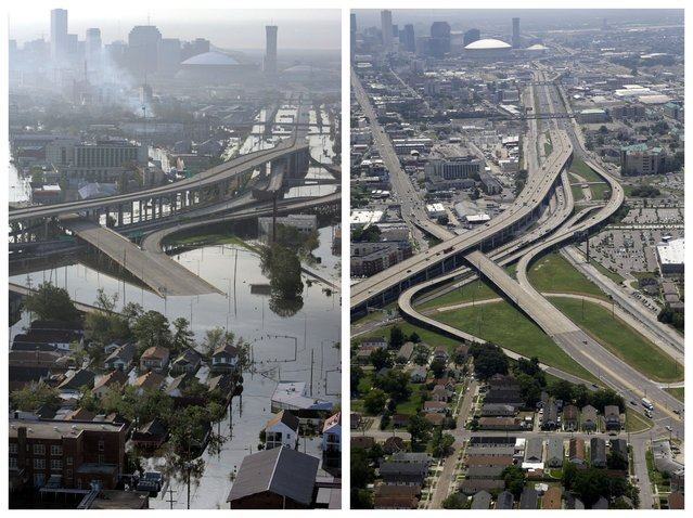 This combination of August 30, 2005 and July 29, 2015 aerial photos show the Mid City and Palmetto areas of New Orleans flooded by Hurricane Katrina and the same area a decade later. The storm went down in history as the costliest natural disaster to strike the U.S., with $150 billion in damages to homes and other property. It was also one of the deadliest – nearly 2,000 died. (Photo by David J. Phillip/Gerald Herbert/AP Photo)