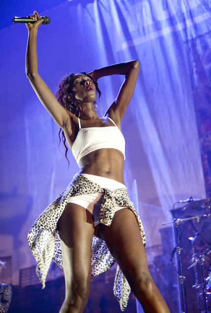 Bridgette Amofah of English band Rudimental opened for Ed Sheeran at the Gwinnett Center Arena on Friday, September 12, 2014, in Atlanta, Ga. (Photo by Dan Harr/Invision/AP Photo)