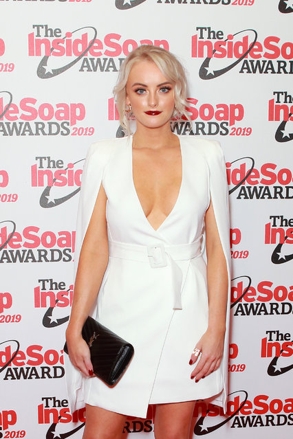 English actress Katie McGlynn attends the Inside Soap Awards at Sway on October 07, 2019 in London, England. (Photo by Splash News and Pictures)