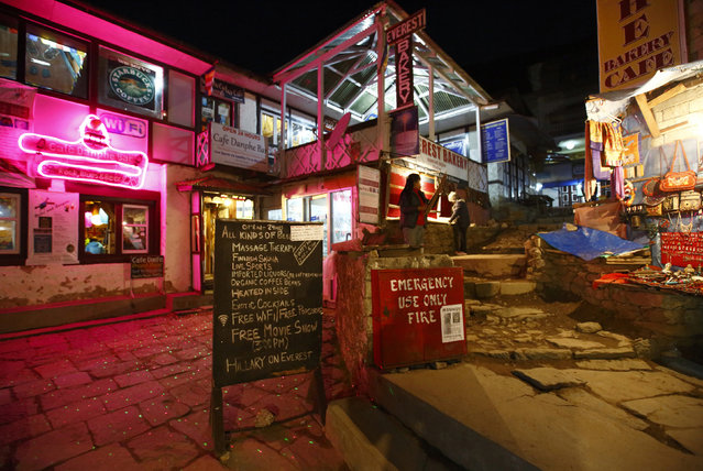 Lights illuminate a street in the evening in Namche, approximately 11286 feet above sea level in Solukhumbu District April 27, 2014. (Photo by Navesh Chitrakar/Reuters)