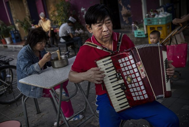 A Chinese man plays accordion in the street in a residential neighborhood on September 18, 2014 in central Beijing, China. (Photo by Kevin Frayer/Getty Images)