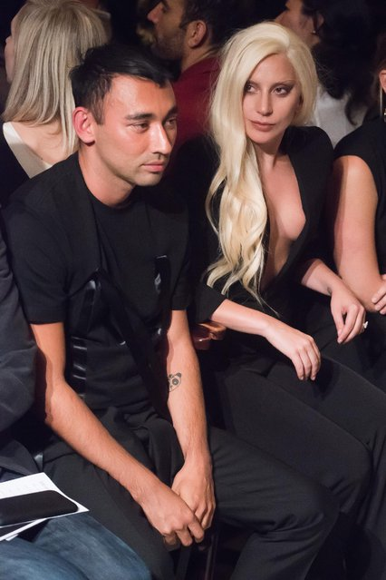 Nicola Formichetti and Lady Gaga attend the Brandon Maxwell Spring/Summer 2016 show during Fashion Week on Monday, September 14, 2015 in New York. (Photo by Charles Sykes/Invision/AP Photo)