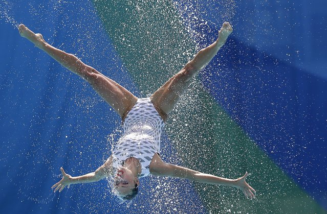 Ukraine's team competes during the synchronized swimming teams free routine final in the Maria Lenk Aquatic Center at the 2016 Summer Olympics in Rio de Janeiro, Brazil, Friday, August 19, 2016. (Photo by Wong Maye-E/AP Photo)