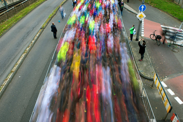 A long exposure picture of runners competing in the Cologne Marathon in Cologne, Germany, October 4, 2015. (Photo by Marius Becker/EPA)