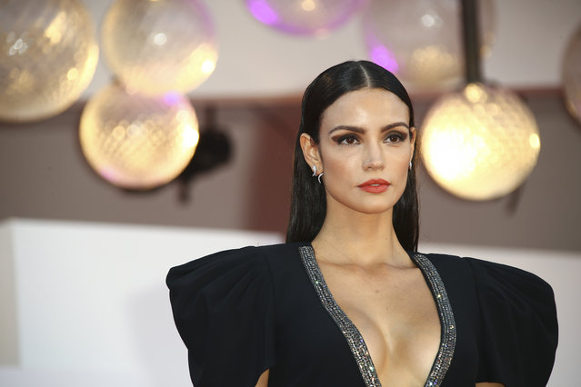 """Brazilian  model Sofia Resing poses for photographers upon arrival at the premiere of the film """"Miss Marx"""" during the 77th edition of the Venice Film Festival in Venice, Italy, Saturday, Sept. 5, 2020. (Photo by Joel C. Ryan/Invision/AP Photo)"""
