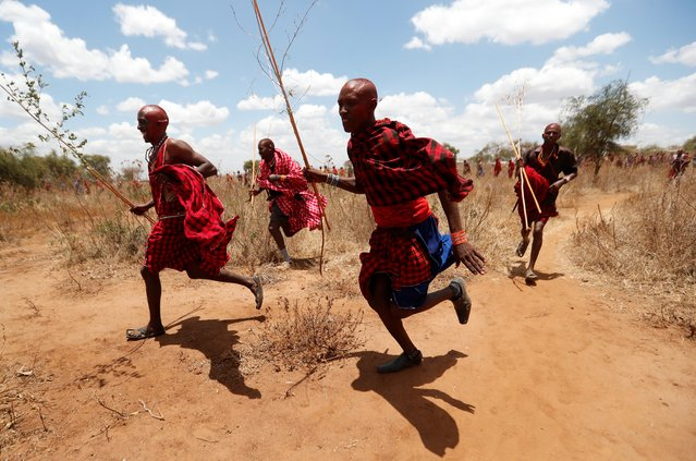 Maasai men of Matapato run to parade as they attend the Olng'esherr (meat-eating) passage ceremony to unite two age-sets; the older Ilpaamu and the younger Ilaitete into senior elder-hood as the final rite of passage, after the event was initially postponed due to the coronavirus disease (COVID-19) outbreak in Maparasha hills of Kajiado, Kenya on September 23, 2020. (Photo by Thomas Mukoya/Reuters)