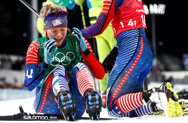 USA' s Jessica Diggins reacts as she crosses the finish line to win gold in the women' s cross country team sprint free final at the Alpensia cross country ski centre during the Pyeongchang 2018 Winter Olympic Games on February 21, 2018 in Pyeongchang. (Photo by Dominic Ebenbichler/Reuters)