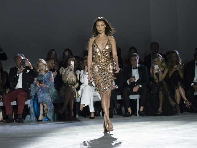 Bella Hadid walks the runway at Fashion For Relief show during the 71st annual Cannes Film Festival at Aeroport Cannes Mandelieu in Cannes, France, 13 May 2018. (Photo by Arnold Jerocki/EPA/EFE)