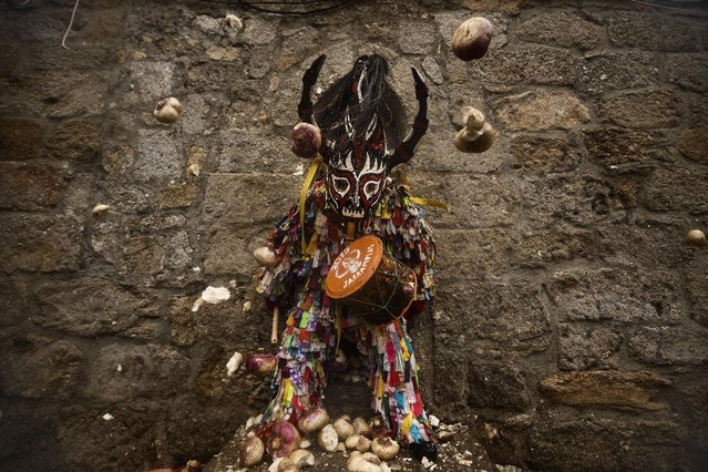 People throw turnips at the Jarramplas as he makes his way through the streets beating his drum during the Jarramplas Festival in Piornal, Spain, Tuesday, January 20, 2015. Jarramplas is a character that wears a costume made from colorful strips of fabric, and a devil-like mask and beats a drum through the streets of Piornal while residents throw turnips as a punishment for stealing cattle. (Photo by Daniel Ochoa de Olza/AP Photo)