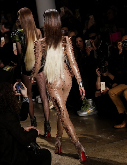 Models walk the runway at The Blonds show during Mercedes-Benz Fashion Week Fall 2015 at Milk Studios on February 18, 2015 in New York City. (Photo by Brian Ach/Getty Images)