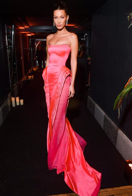 Bella Hadid attends the Naked Heart France Gala Dinner as part of the Paris Fashion Week Womenswear Spring/Summer 2019 at Le Boeuf Sur Le Toit on September 27, 2018 in Paris, France. (Photo by Victor Boyko/Getty Images)
