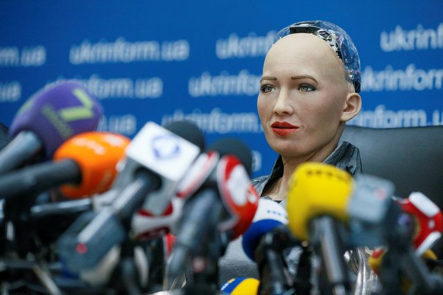 Social humanoid robot Sophia, a latest creation by Hanson Robotics company, attends a news conference after a meeting with young inventors and officials in Kiev, Ukraine October 11, 2018. (Photo by Valentyn Ogirenko/Reuters)