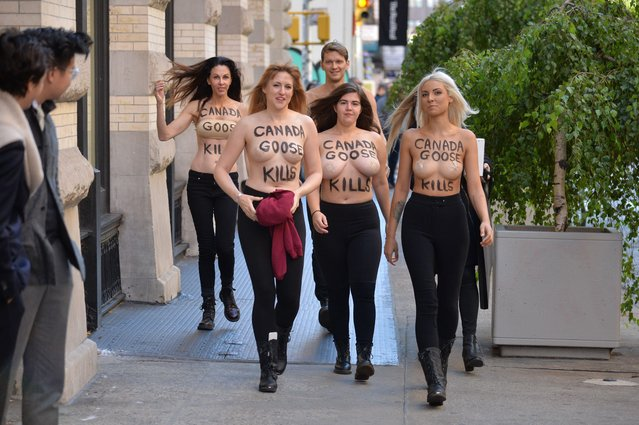 "A group of PETA supporters protest Canada Goose's use of coyote fur, with ""Canada Goose Kills"" painted on their backs in New York, USA on October 18, 2018. (Photo by Erik Pendzich/Rex Features/Shutterstock)"