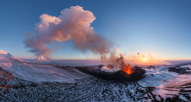 Volcano Plosky Tolbachik, Kamchatka, Russia. (Photo by Airpano/Caters News)