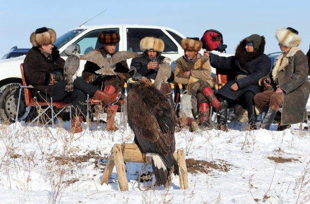 Participants gather during a traditional hunting contest, involving tamed golden eagles and hawks, in Almaty, Kazakhstan on December 1, 2018. (Photo by Pavel Mikheyev/Reuters)