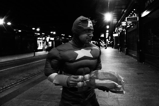 Captain America with a fish supper under Heilanman's Umbrella. (Photo by Brian Anderson)