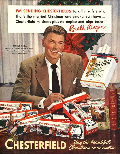 This image provided by the Stanford Research into the Impact of Tobacco Advertising shows a 1949 Chesterfield cigarette advertisement featuring future President Ronald Reagan. On January 11, 1964, U.S. Surgeon General Luther Terry released an emphatic and authoritative report that said smoking causes illness and death – and the government should do something about it. (Photo by AP Photo/Stanford Research into the Impact of Tobacco Advertising)