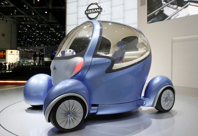 A Nissan Pivo2 concept car is displayed during the first media day of the 78th Geneva Car Show at the Palexpo in Geneva Wednesday, March 05, 2008. (Photo by Arnd Wiegmann/Reuters)