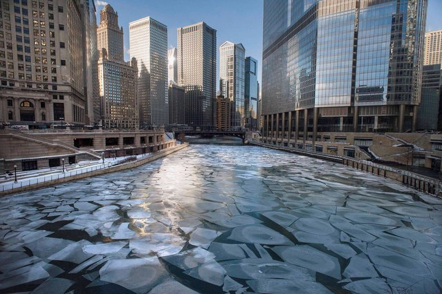 Ice floats in the frozen Chicago River as seen from the Michigan Avenue Bridge in Chicago, Monday morning. January 27, 2014. (Photo by Michael R. Schmidt/AP Photo/Sun-Times Media)