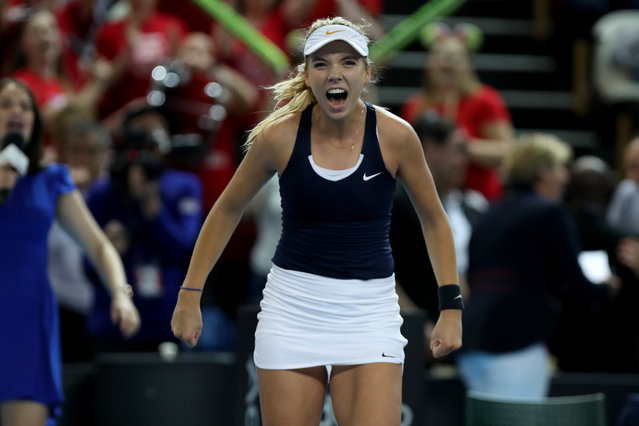 Katie Boulter celebrates winning her match against Kazakhstan for Great Britain who went on to win the Federation Cup Tennis World Group II play-off at Copper Box Arena in London, England on April 21, 2019. (Photo by Shaun Brooks/Action Plus via Getty Images)