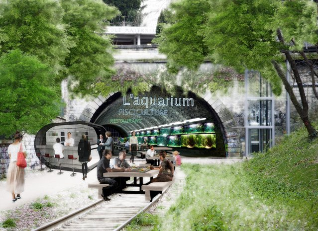 This computer image provided Monday March 17, 2014 by the Press Office of socialist candidate to Paris Mayor Anne Hidalgo, shows a tunnel of abandoned railway from the 19th century, now ramshackle and overgrown, turned into a restaurant and aquarium. Hidalgo's plan envisions not just a green space but in the tunnels, places for farming fish and mushrooms. (Photo by AP Photo/Anne Hidalgo's Press Office)