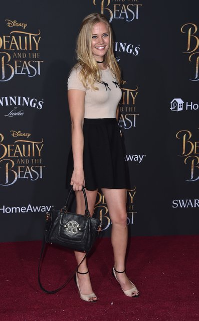 "Actress Carly Schroeder attends Disney's ""Beauty and the Beast"" premiere at El Capitan Theatre on March 2, 2017 in Los Angeles, California. (Photo by Frazer Harrison/Getty Images)"