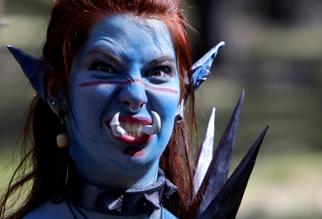 "A woman dressed as a character from the computer game ""World of Warcraft"" stands in a forest near the village of Sosnova, Czech Republic, April 30, 2016. (Photo by David W. Cerny/Reuters)"