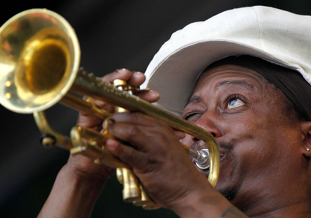 Kermit Ruffins performs at the New Orleans Jazz and Heritage Festival in New Orleans, Sunday, May 6, 2012. (Photo by Gerald Herbert/AP Photo)