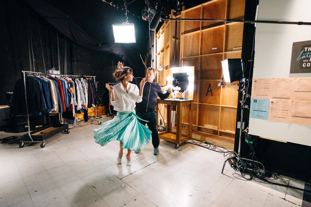 """Giving it a twirl with James Corden, Victoira Beckham performs in """"Mannequin"""" for the presenter's """"The Late Late Show"""" in Los Angeles, California on Thursday, March 30, 2017. (Photo by Terence Patrick/CBS)"""