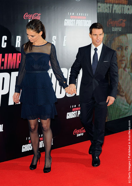 Actors Katie Holmes and Tom Cruise attend the Mission: Impossible - Ghost Protocol U.S. premiere