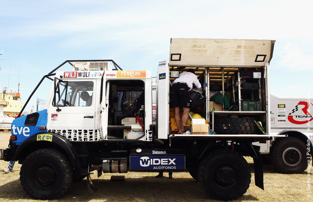 A race vehicle is seen in the Base Naval Mar del Plata during scrutineering for the 2012 Dakar Rally