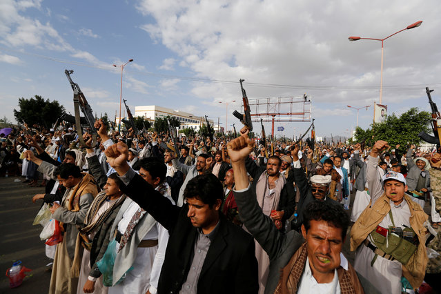 Houthi followers shout slogans during a demonstration against the U.S. intervention in Yemen, in the country's capital Sanaa May 13, 2016. (Photo by Khaled Abdullah/Reuters)