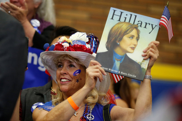 A supporter cheers for U.S. Democratic presidential candidate Hillary Clinton as she speaks at the University of California Riverside in Riverside, California, U.S. May 24, 2016. (Photo by Lucy Nicholson/Reuters)