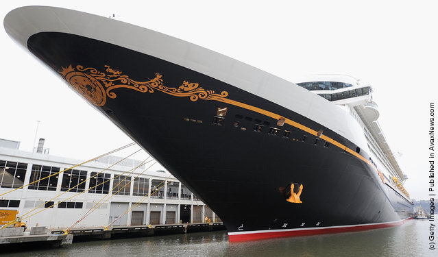The Disney Fantasy cruise ship is docked for its christening on March 1, 2012 in New York City