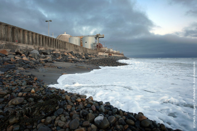 Ocean waves come ashore near the San Onofre Nuclear Generating Station along San Onofre State Beach