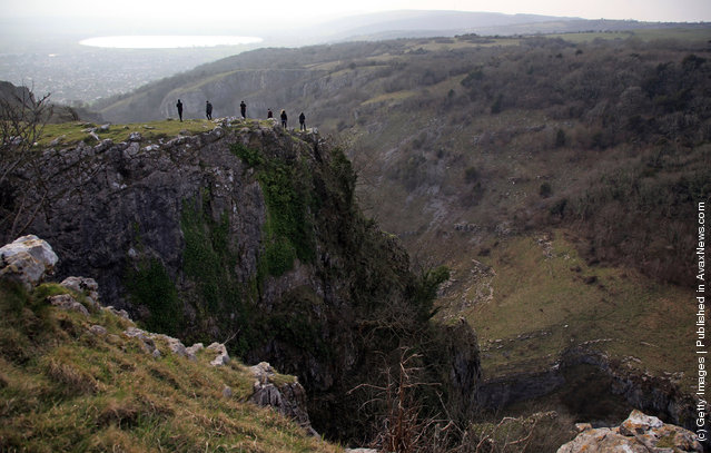 Visitors to the Cheddar Gorge take in the views