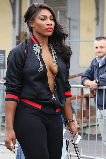 Serena Williams arriving at Gucci Spring Summer 2017 women Fashion show during Milan Fashion Week on September 21, 2016. (Photo by Splash News and Pictures)