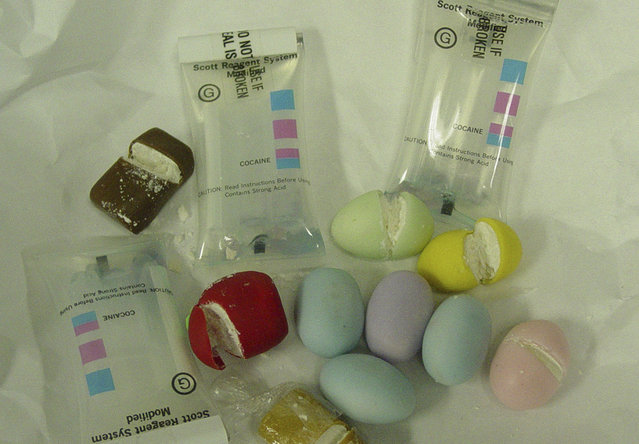 A cache of cocaine concealed inside dozens of phony candy Easter eggs is pictured in this photograph released by the U. S. Immigration and Customs Enforcement agency December 27, 2010. ICE officials arrested Esteban Galtes from Miami, Florida on a drug smuggling charge after he was intercepted at Los Angeles International Airport (LAX) on December 23, 2010, attempting to smuggle in a cache of cocaine concealed inside dozens of phony candy Easter eggs. (Photo by Reuters/ICE)