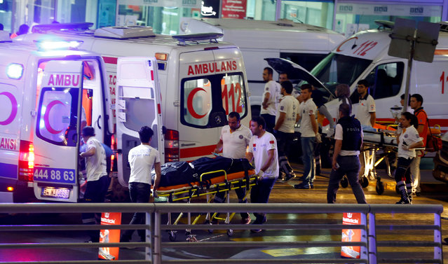 Ambulances arrive at Turkey's largest airport, Istanbul Ataturk, Turkey, following a blast June 28, 2016. (Photo by Osman Orsal/Reuters)