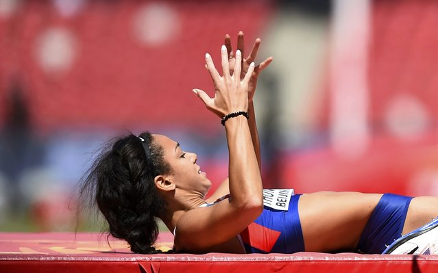 Katarina Johnson-Thompson of Britain reacts as she competes in the high jump event of the women's heptathlon during the 15th IAAF World Championships at the National Stadium in Beijing, China, August 22, 2015. (Photo by Dylan Martinez/Reuters)