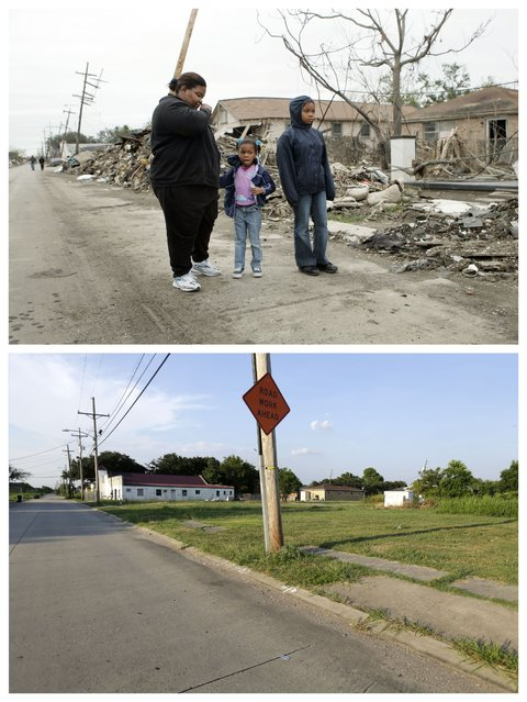 This combination of December 10, 2005 and July 28, 2015 photos show Valerie Thomas, of New Orleans, left, and her nieces Shante Fletcher, 6, and Sarine Fletcher, 11, right, looking at the destruction of Valerie's brother's home in the Lower Ninth Ward of New Orleans after returning to it for the first time since Hurricane Katrina, and empty lots in the same area a decade later. (Photo by Gerald Herbert/AP Photo)