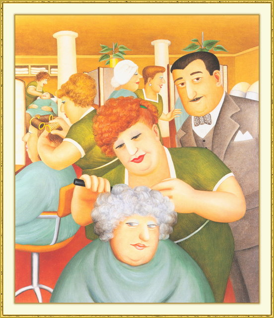 Hairdressing Salon. Artwork by Beryl Cook