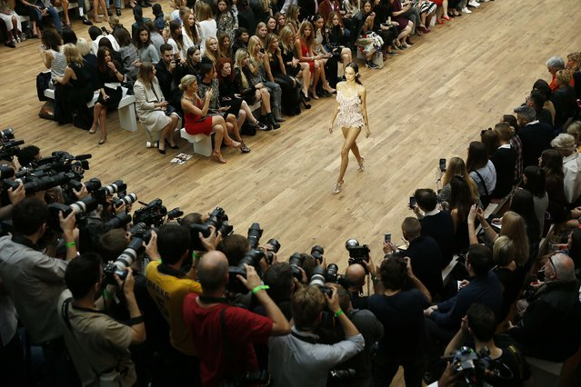 A model presents a creation from the Julien Macdonald Spring/Summer 2015 collection during London Fashion Week September 13, 2014. (Photo by Stefan Wermuth/Reuters)