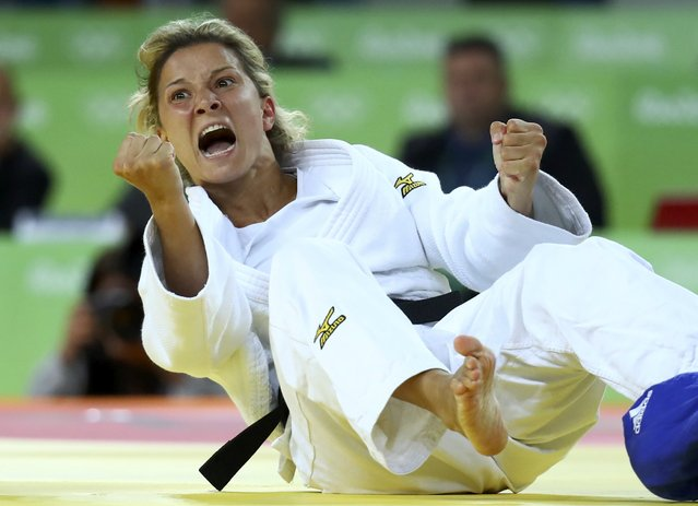 Telma Monteiro of Portugal reacts during her match in the women's 57kg judo competition at the 2016 Rio Olympics, August 8, 2016, Rio de Janeiro, Brazil. (Photo by Kai Pfaffenbach/Reuters)