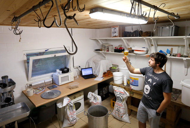 Robin Francotte, member of the Belgian Homebrewers association, inspects his own beer in a working annex of his parents' house which his father uses to make artisanal sausages in Sambreville, Belgium, August 9, 2016. (Photo by Francois Lenoir/Reuters)