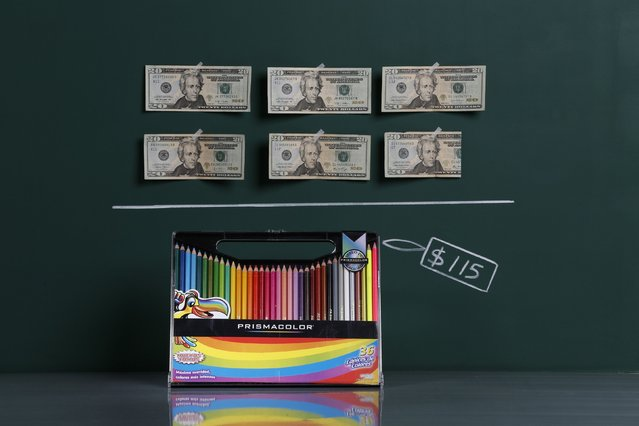 A box of 36 coloured pencils as photographed in a studio with an illustrative price tag of $115 (US dollars), equivalent to the Bs. 725 (bolivars) that it costs on average to purchase in Caracas at the official exchange rate of 6.3 bolivars per dollar, in Caracas September 29, 2014. Venezuela's economic crisis has led to some shocking and surreal price distortions that hit people's buying power dramatically. (Photo by Carlos Garcia Rawlins/Reuters)