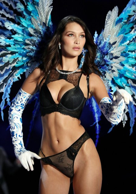 Bella Hadid presents a creation during the 2017 Victoria's Secret Fashion Show in Shanghai, China, November 20, 2017. (Photo by David Fisher/Rex Features/Shutterstock)